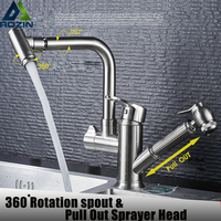 Deck Mounted Pull Out Kitchen Faucet Hot And Cold Dishwasher Sink Taps 360 Rotating Spout Bathroom