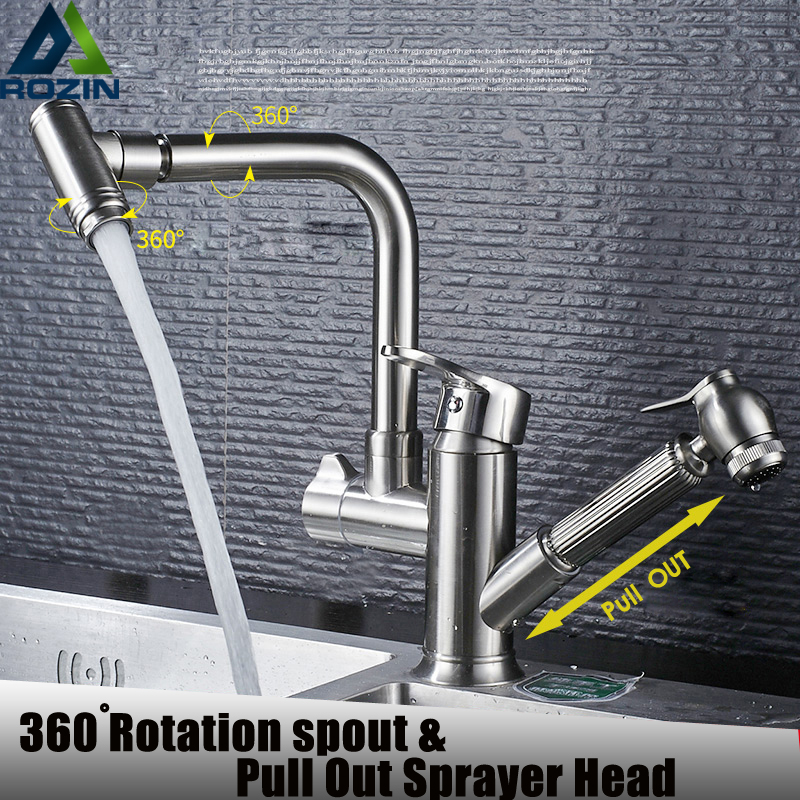 Deck Mounted Pull-out Kitchen Faucet Hot and Cold Dishwasher Sink Taps 360 Rotating Spout Bathroom Kitchen Universal Sink Mixer polished chrome kitchen sink faucet swivel pull down spout kitchen sink tap deck mounted bathroom hot and cold water mixers
