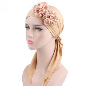 Image 5 - 2018 Muslim Women Flower Cap Cancer Hat Long Tail Cap Hair Loss Head Scarf Turban