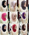 Mujeres de la manera de Señora Cotton Crossover Interno Musulmán Árabe Hijab Islámico Underscarf Caps Sombreros Sombreros