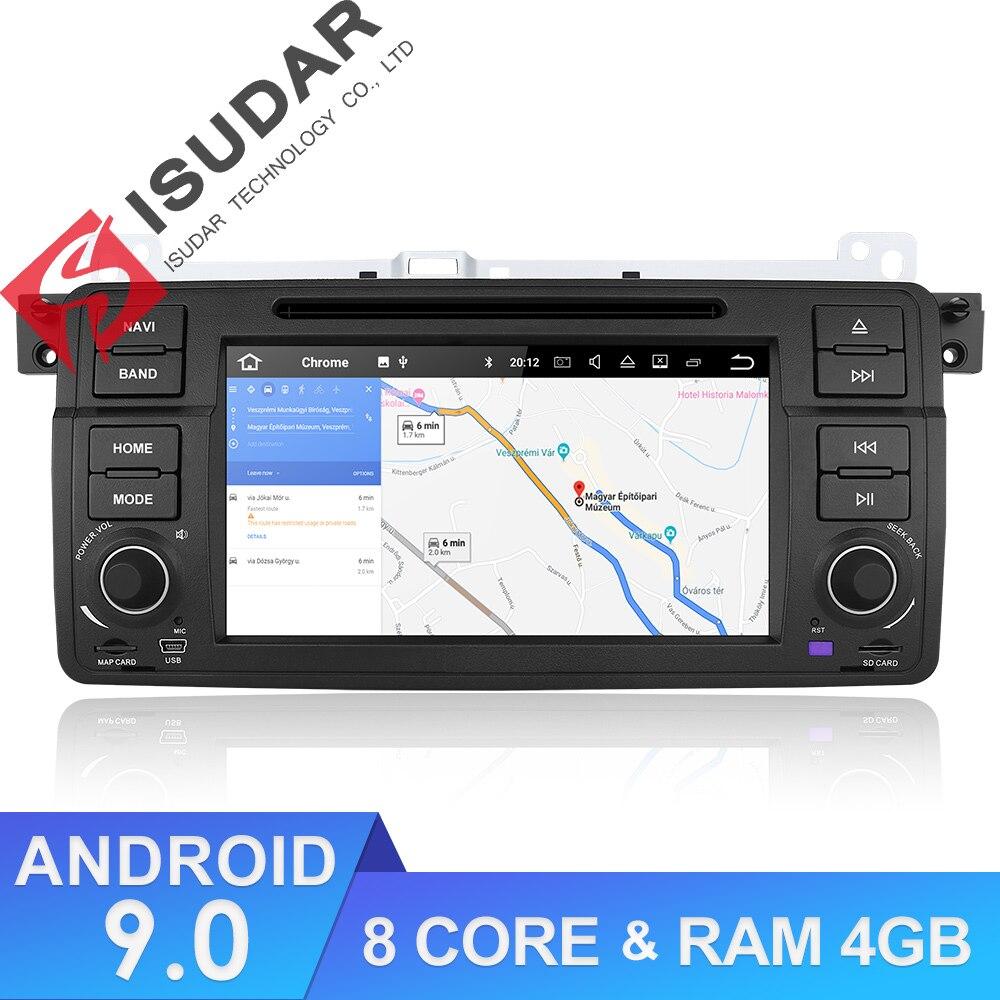 Isudar 1 Din lecteur multimédia de voiture Android 9 GPS Autoradio système stéréo pour BMW/E46/M3/Rover/3 séries RAM 4G ROM 64GB Radio FM