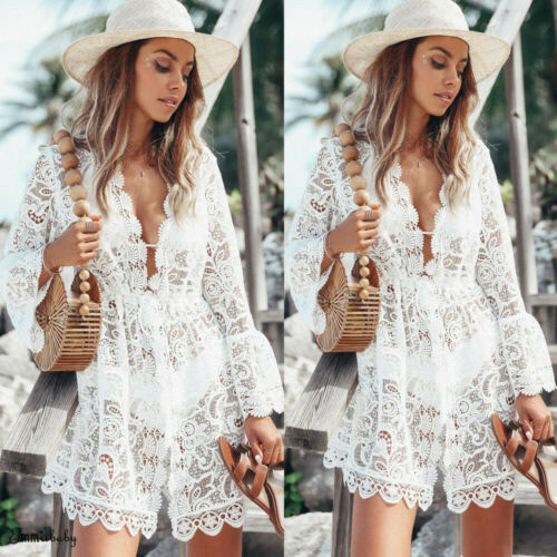 2019 New Summer Women Bikini Cover Up Floral Lace Hollow Crochet Swimsuit Cover-Ups Bathing Suit Beachwear Tunic Beach Dress Hot 1