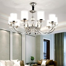 LED Chandeliers Lighting Chrome Metal Modern Crystal lights Living Room Led Pendant Lights Bedroom Hanging Light