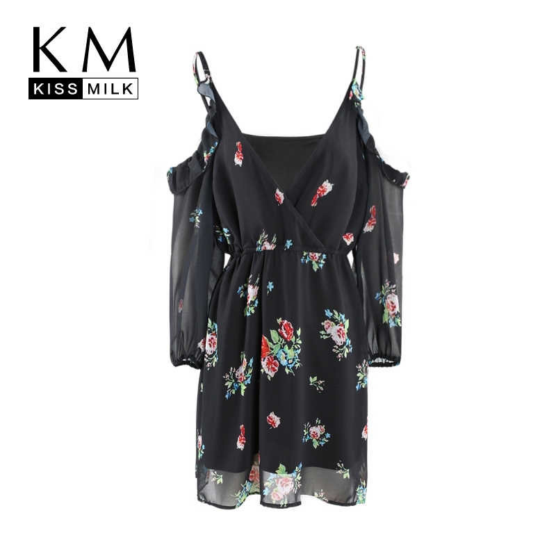 7015474adf350 Kissmilk Plus Size 2018 New Arrival Women Floral Sleeveless Knee-Length  Dress Female V-