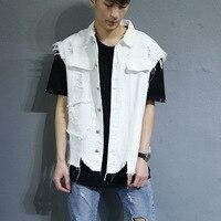 Punk Style Street Wear Hip Hop Denim Vests Men Sleeveless Jean Jacket White Chalecos Hombre