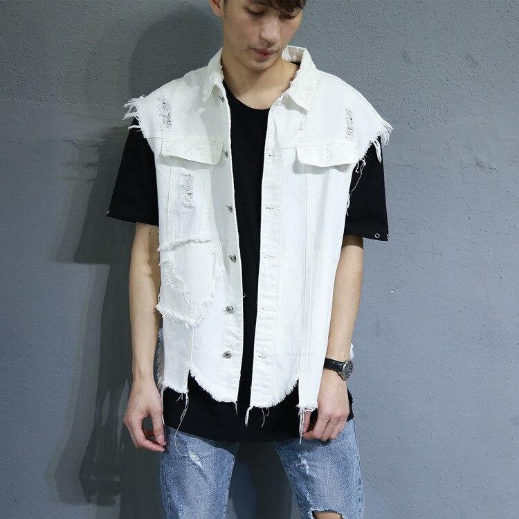 Hommes Hombre Sans Blanc Chalecos Jean Denim Veste Manches Punk Hip Street Gilets Hop Wear Style 6wFFqH0