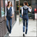 2016 New Fashion Denim Casual Suspender Pants Jeans Jumpsuits Removable lapel vest With Pockets Buttons Hooded denim piece pants