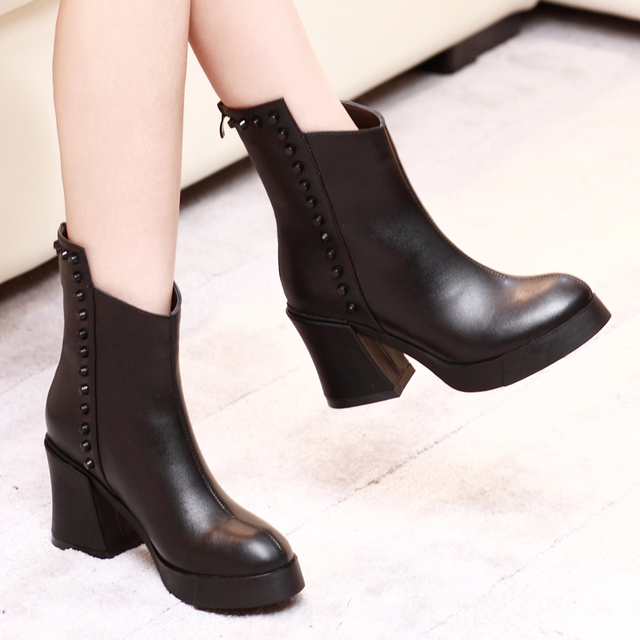 sale pictures Autumn Winter British Fashion New In tube Female boots Thick with high-heeled short Boot Martin boots good selling online s79Zo