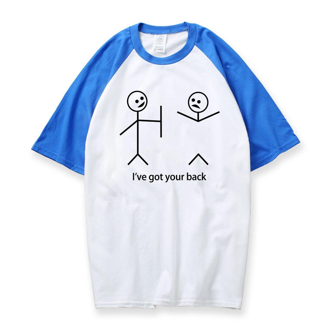 New 2018 Summer Raglan Men Best Friend T Shirts Cute Pattern Funny Stick Figure T Shirt Short Sleeve Tops Tshirt Boyfriend Tops