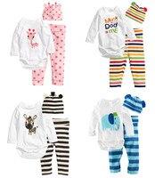 3pcs Newborn Baby Girls Toddler Clothes Cartoon Hat+Romper+Pants Cap Jumpsuit Suit Trousers Bebe Clothing Set Roupa Infantil New