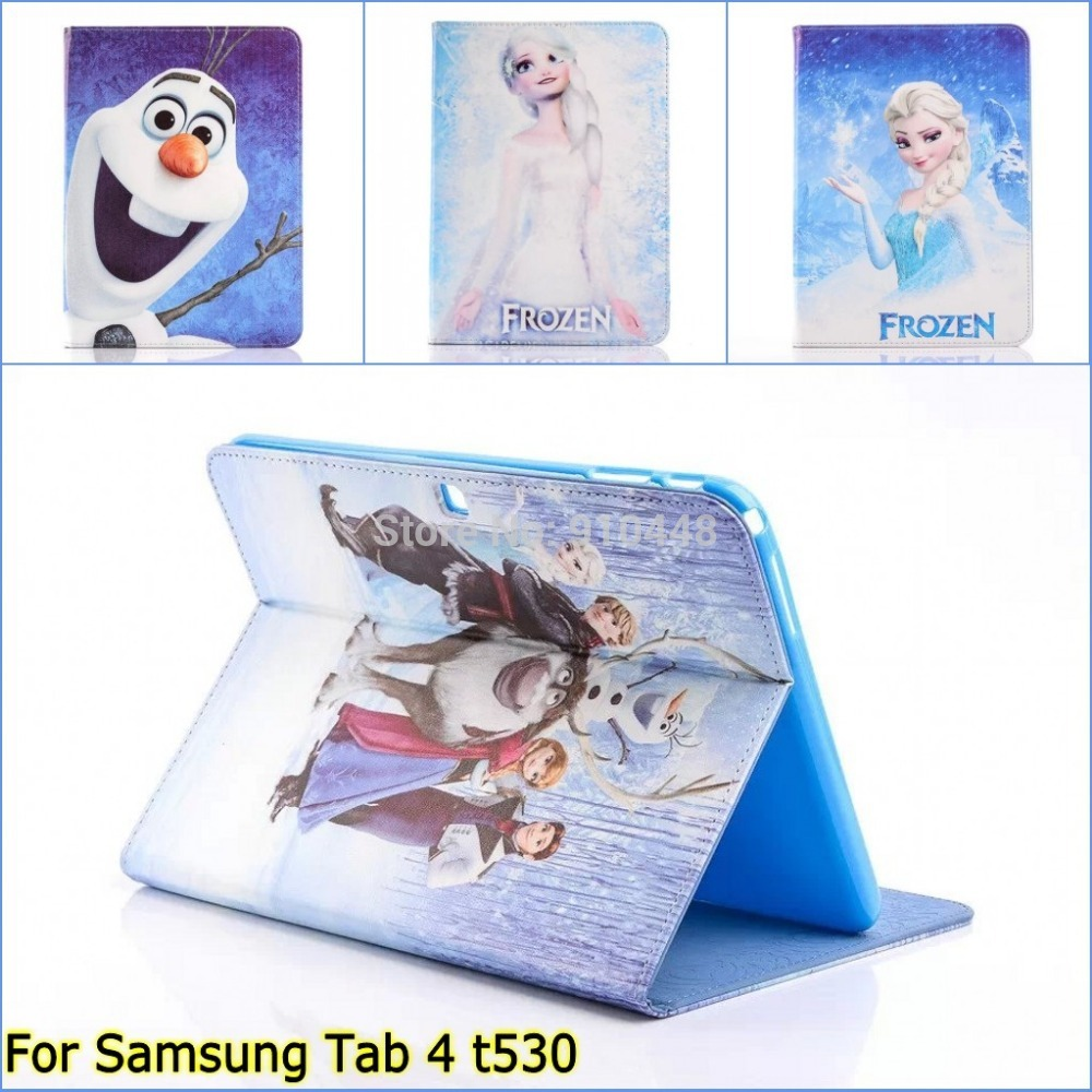 New Cartoon Anna pu leather Stand holder case cover for Samsung Galaxy Tab 4 tab4 10.1 T530 T531 t535 with stylus pen