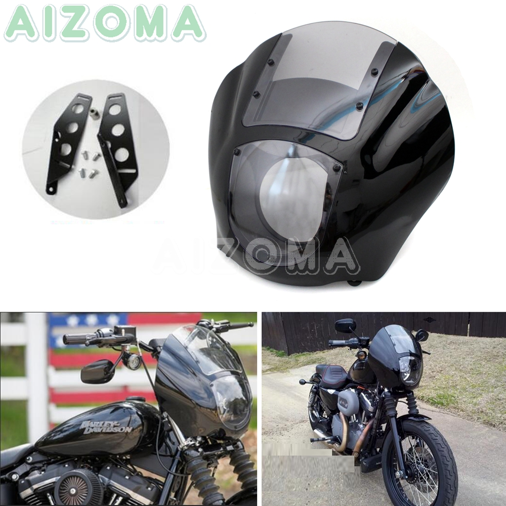 Clair moto quart Faiirng w/support Kit pour Harley Softail Sportster 883 1200 Dyna Street Fat Bob FXD FLD Low Rider