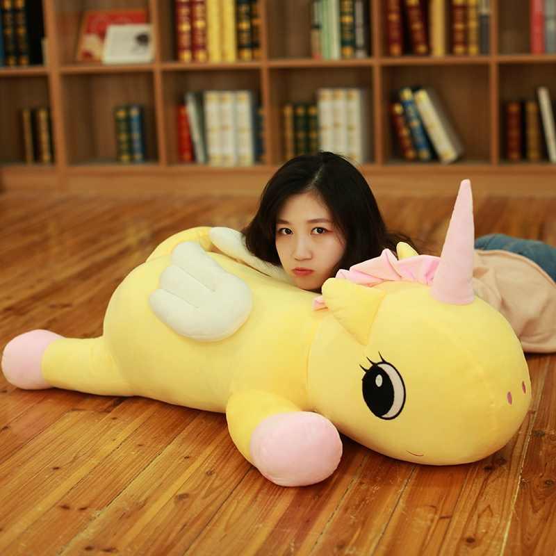 85 cm nuevo suave unicornio de peluche de juguete lindo peluche muñeca almohada cojín juguetes marca para niños decoración del hogar Navidad regalo