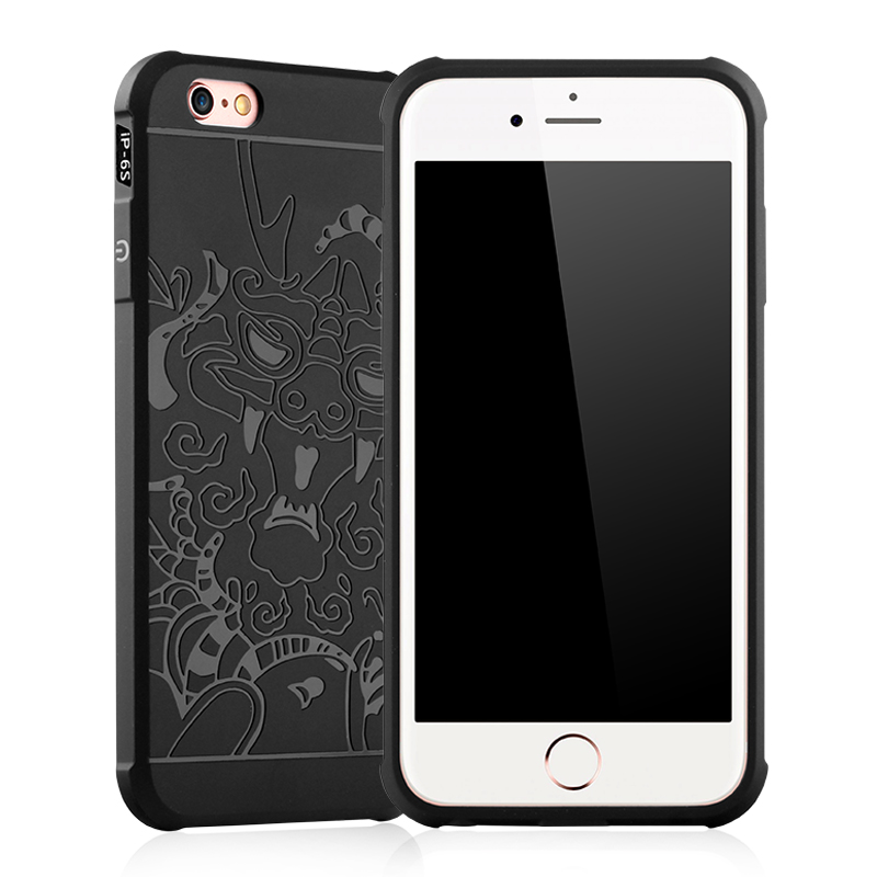 Cocose For Iphone 6S 6plus Case Silicone Case Shockproof Matte 3D Carved Dragon Soft TPU For