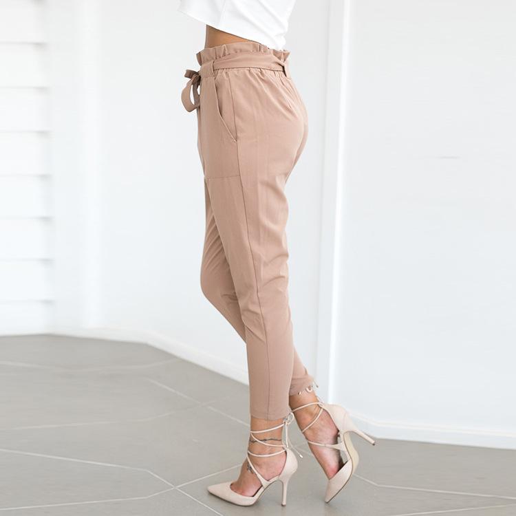 19 New Brand High Elastic Waist Harem Pants Women Spring Summer Fashion Ninth Pants Female Office Lady Black Trousers Belt 5