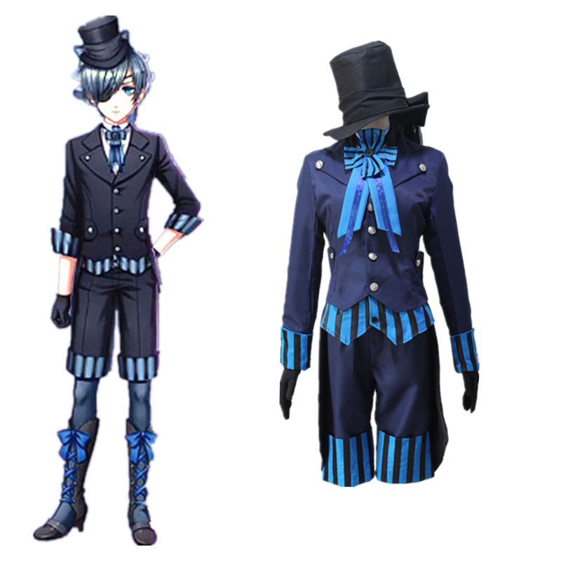 Anime Black Butler ciel phantomhive Costumes Cosplay Costume Blue Uniform Outfit Coat,Pants,Vest,Tie,Shirt,Hat D091 168