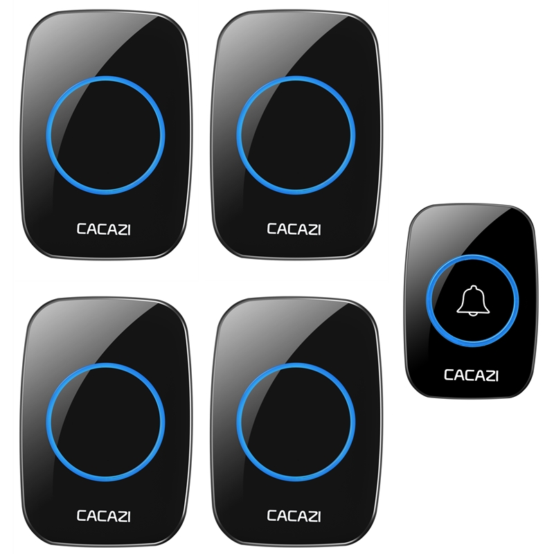 цена на CACAZI AC 100-240V DoorBell Waterproof 300m work range Wireless Door bell 1 transmitter+4 receivers 38 Ring tunes door chime