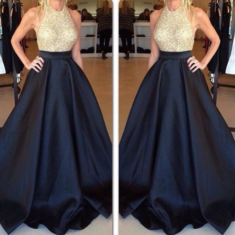 Sexy Black Gold Sequined Prom Dresses Long Halter Satin Floor Length