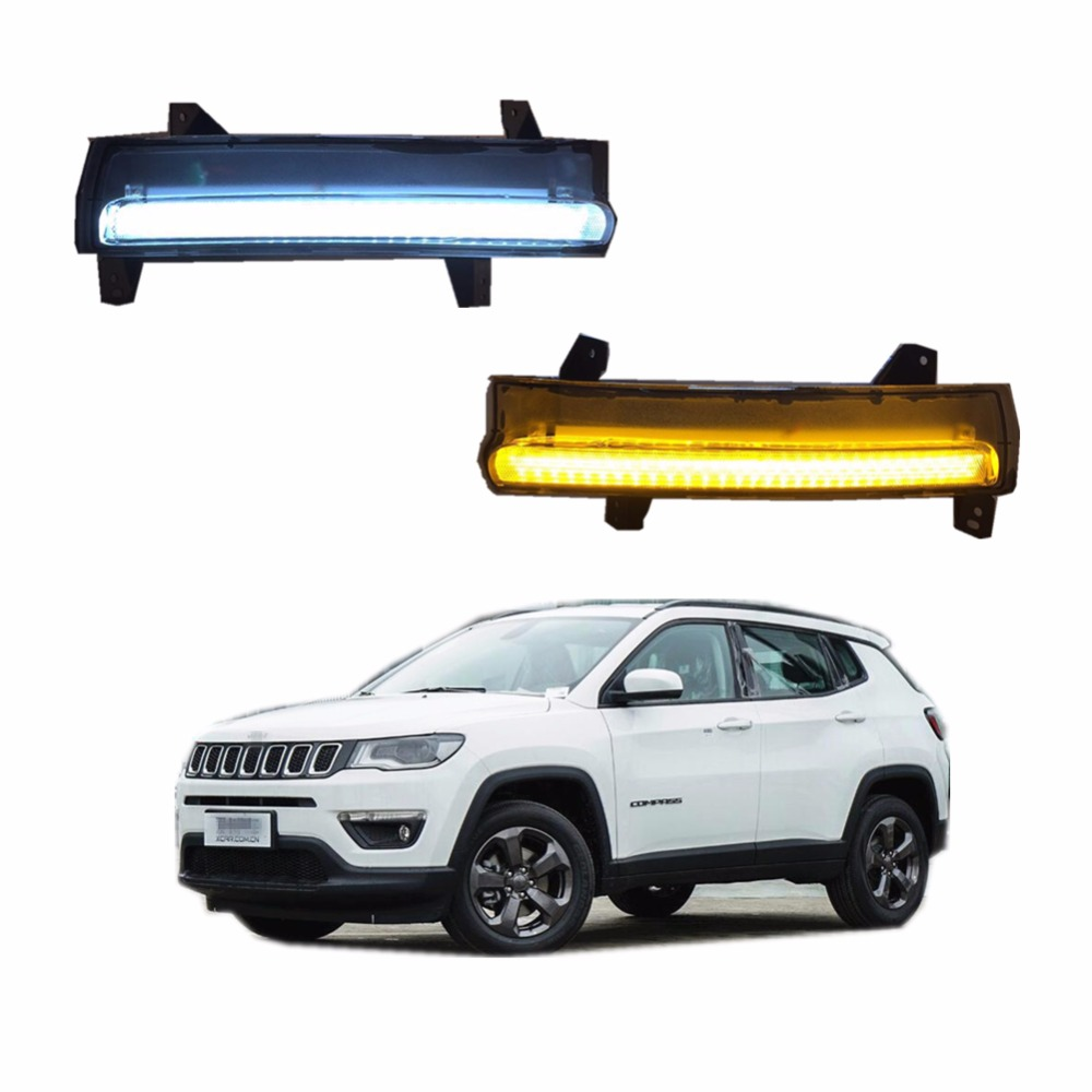 For Jeep Compass 2017 Car fog lamp LED Daytime Running Light DRL With Yellow Turn Singal Light