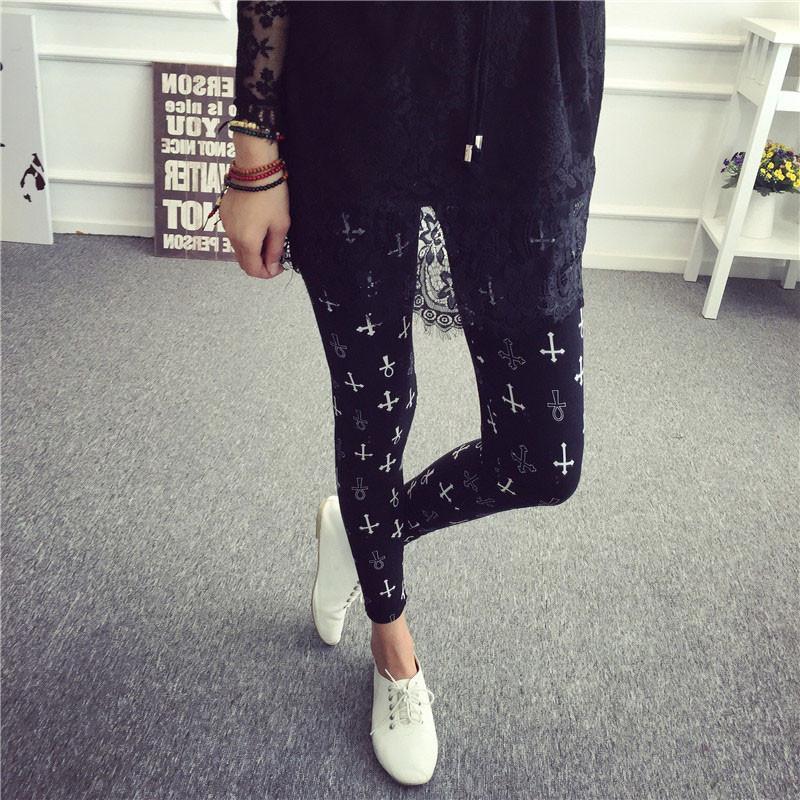 BIVIGAOS Spring Summer Womens Fashion Black Milk Thin Stretch leggings Colored Stars Graffiti Slim Skinny Leggings Pants Female 68