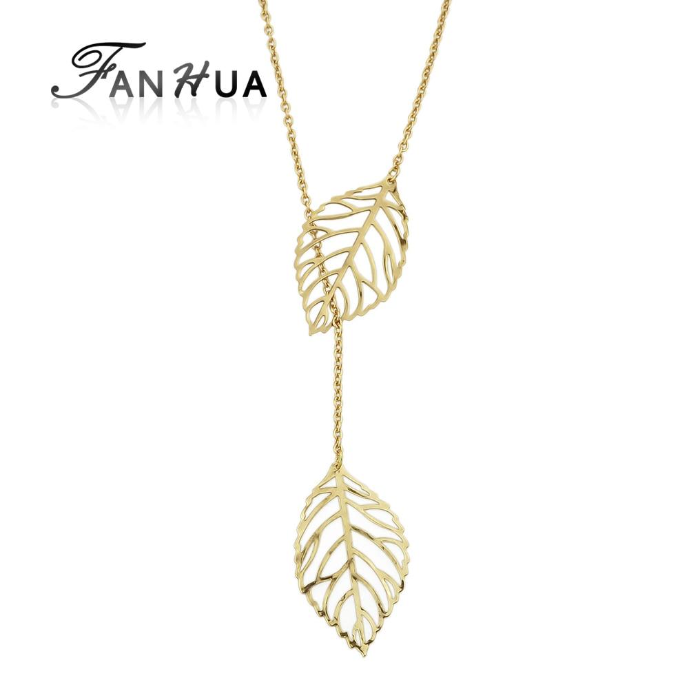 Modern Necklaces Style Leaf Design Gold Color Silver Color Necklaces Amp Pendants For Women