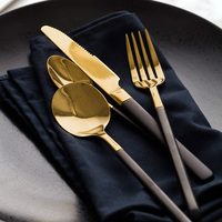 304 Stainless Steel High Quality Dinner Knife Fork Spoon Tea Forks Steak Knives Gold Black Grip Cutlery Coffee Spoons Tableware