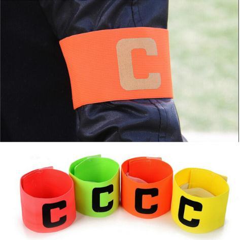 Piłka nożna piłka nożna elastyczny zespół sport regulowane opaski dla graczy fluorescencyjna opaska kapitana hokej Rugby Skippers opaski na łokieć