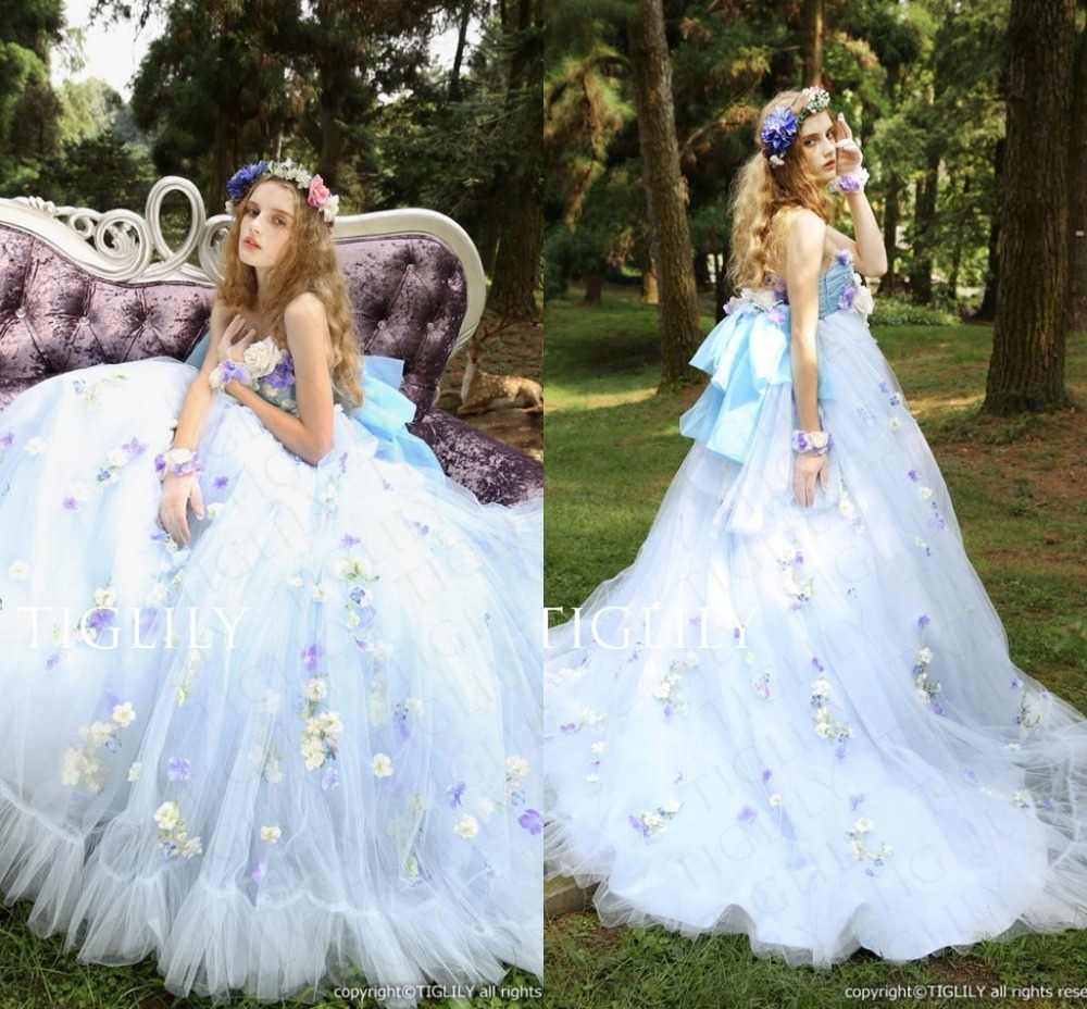 Top Sale 2015 Ball Gown Colorful Wedding Dresses Beautiful Hand Made ...