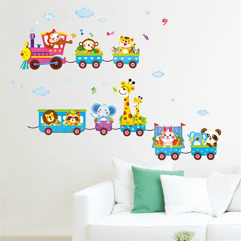 Newest cute colorful cartoon animals baby children bedroom room decor wall stickers removable kids nursery decal gifts sticker