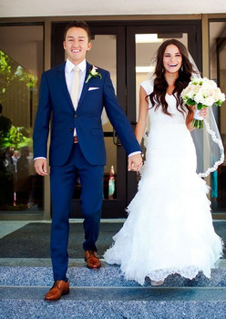 Tailored Made Men Suits Blue Custom Tuxedo Wedding Suits For Men Groom Prom Blazer Beach 2 Pieces Slim Fit Terno Jacket+Pants