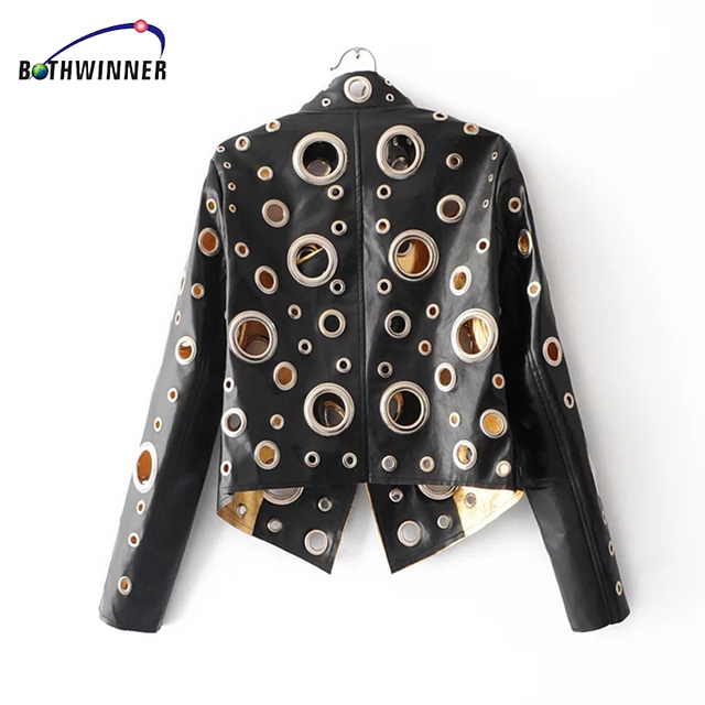 Bothwinner 2017 PU Leather Jackets Casual Female Biker Motorcycle Bomber Jacket Punk Hippie Heavy Metal Basic Jackets 2