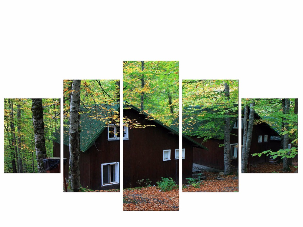 5 Pieces Green Forest HD Canvas Print Painting Artwork Modern Home Wall Decor Art Picture On Prints Framed