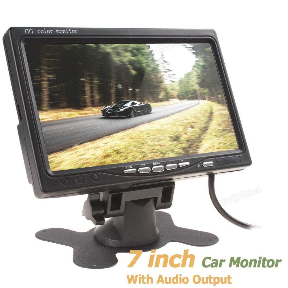 7 ''a Cores TFT LCD Monitor de Visão Traseira Do Carro de Saída de Áudio 7 polegadas 800x480 Retrovisor Do Carro Reversa Estacionamento Monitor de Vídeo 2 entrada