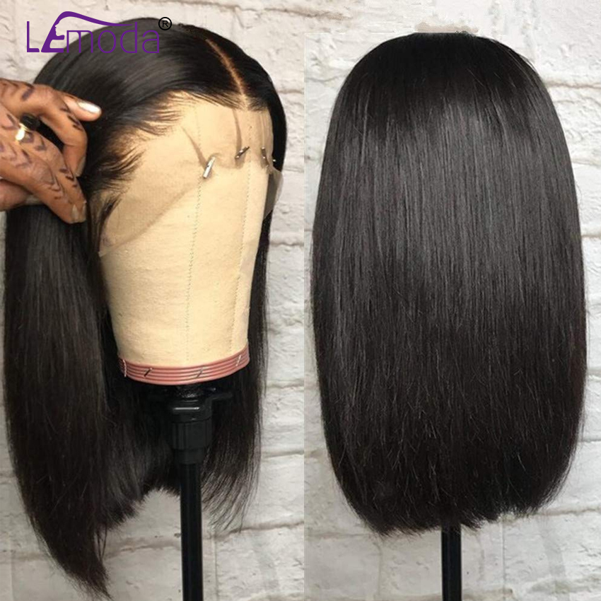 Brazilian Short Bob Wigs Glueless Lace Front Human Hair Wigs Pre Plucked Remy Straight Lace Frontal