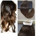 Полный Блеск Выметания Цвет Волос Темно-Коричневый Ломбер Два Тона Радужный Ленты в Наращивание Волос Человеческих Волос Ombre Бразильский волос