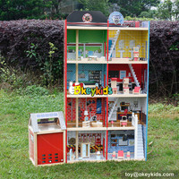 Doll House big wooden toy fire station toys for children