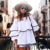 Covasophy Elegant Women Blouses 2017 Summer Butterfly Sleeve Slash Neck Off Shoulder Shirts Casual Ruffles Blouses