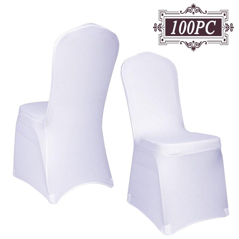 무료 배송 100 pc 철제 기계 빨 수있는 유니버설 화이트 탄성 스판덱스 의자 커버 웨딩 파티 연회 장식-에서의자 커버부터 홈 & 가든 의  그룹 1