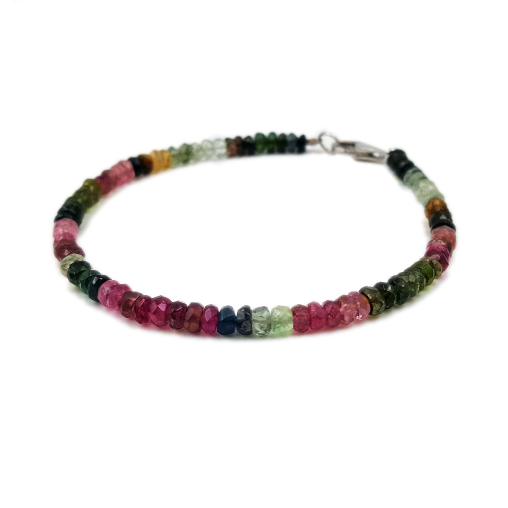 Natural Stone Rainbow Tourmalines 925 Sterling silver clasp Bracelet Total size about 7 7 5 8