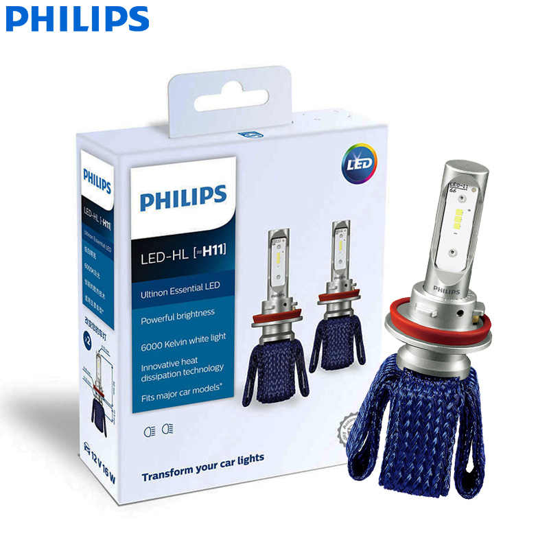 Philips Ultinon Essential LED H11 12V 11362UEX2 6000K Bright Car LED Headlight Auto HL Beam ThermalCool (Twin Pack)