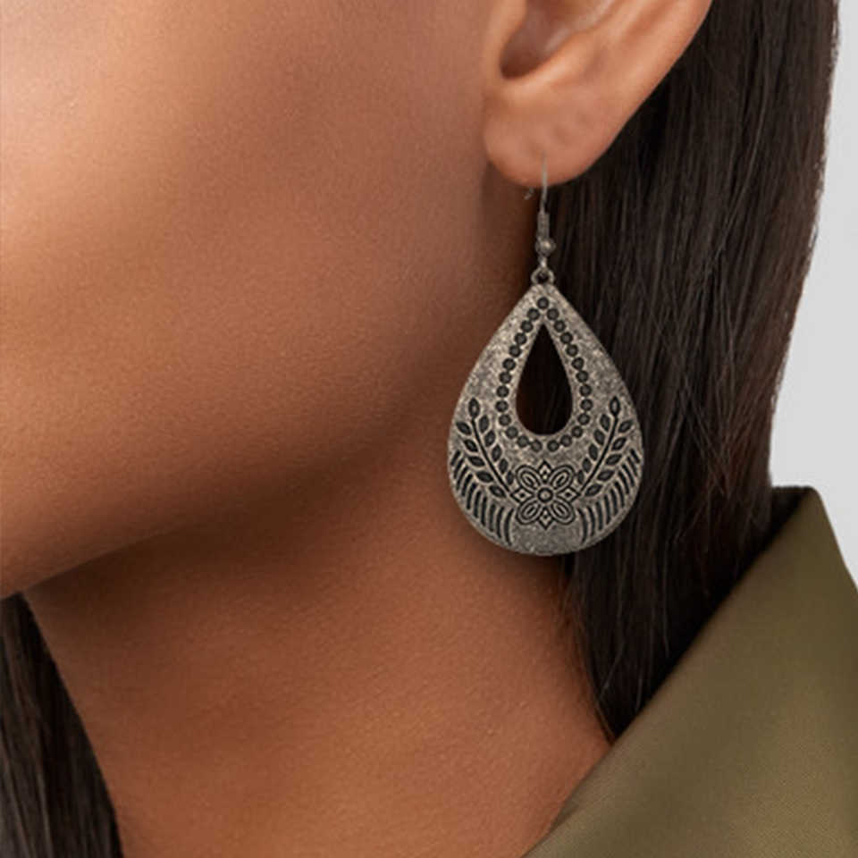 New Dark Black Geometric Round Big Circle metal Statement Long Drop Earrings Vintage Ethnic Boho Hanging Earrings for Women