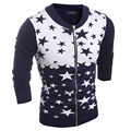 2016 New Winter men's fashion casual five-pointed star knit cardigan sweater  men brand  warm jacket coat