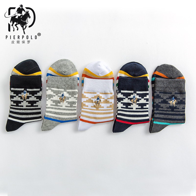 PIER POLO 5 Pairs New autumn and winter socks Business casual mens sock Mosaic stripe Warm and comfortable Embroidery Meias sox