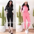 Free Shipping 2017 Spring New All Match Handsome Vintage Loose Long Tooling Piece Pant Black Pink Women Slim Was Thin Jumpsuits