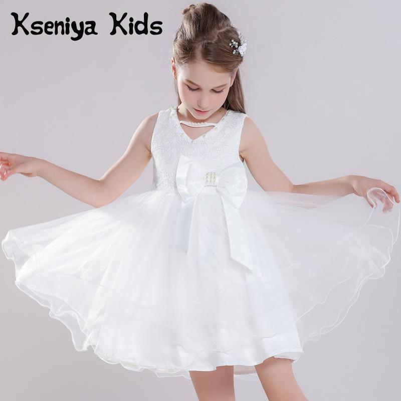 Kseniya Kids White Girl Dress For Party And Wedding Flower Girls Graduation Dresses 10 12 Flower Bowknot V neck Diamond