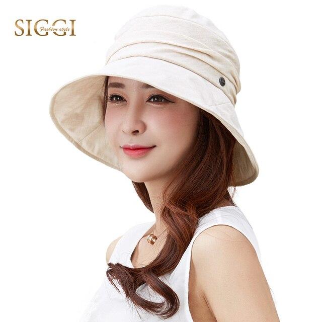 cb52a6a3c174c SIGGI Women Sun Hat Summer chapeu feminino praia chapeau femme girl bucket  UV upf 50 Cap foldable packable fashion 89038