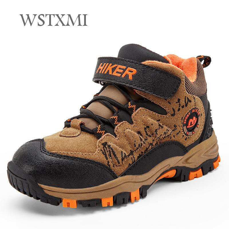 Winter Snow Kids Hiking Shoes Boys Girls Outdoor Sneakers for Children Leather Waterproof Rubber Sole Non-slip Warm Sports ShoesWinter Snow Kids Hiking Shoes Boys Girls Outdoor Sneakers for Children Leather Waterproof Rubber Sole Non-slip Warm Sports Shoes