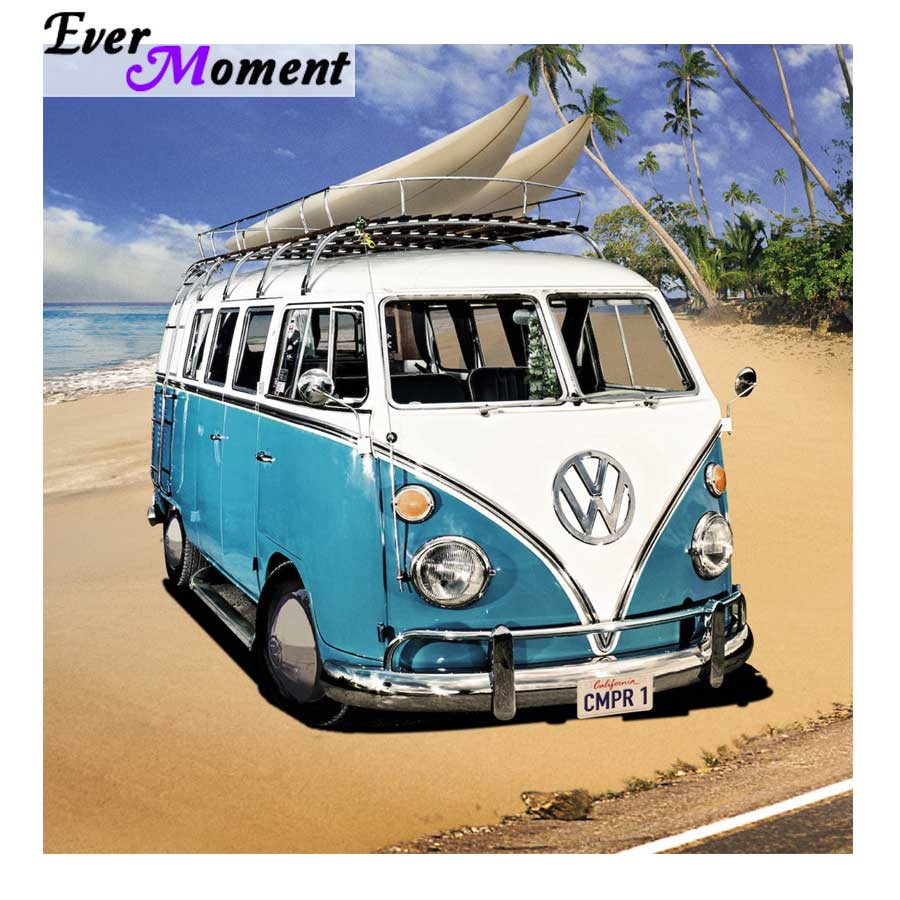 5d diamond painting 30x30cm diamond bus embroidery patterns kit mosaic blue volkswagen bus at seaside needlework