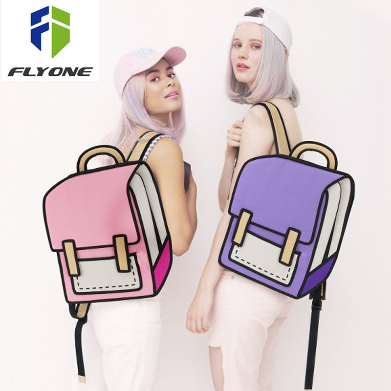 Flyone Fashion Cute Student Bags Women Backpack 3D Jump Style 2D Drawing Cartoon Back Bag Comic Unisex Knapsack Bolos FY0189