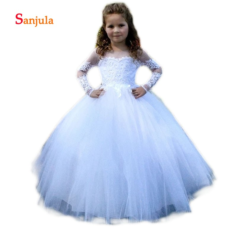 Long Sleeve White Tulle   Flower     Girls     Dresses   2018 Scoop Ball Gown   Girls   Brithday Party   Dresses   Appliques vestidos comunion D106